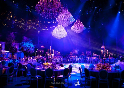 Large chandeliers decorate wedding in london styled by london wedding decoration hire and rental with chandeliers junglespirit Gallery
